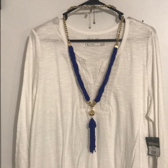 RARE!!! SALE! Lilly cobalt beaded tassel necklace